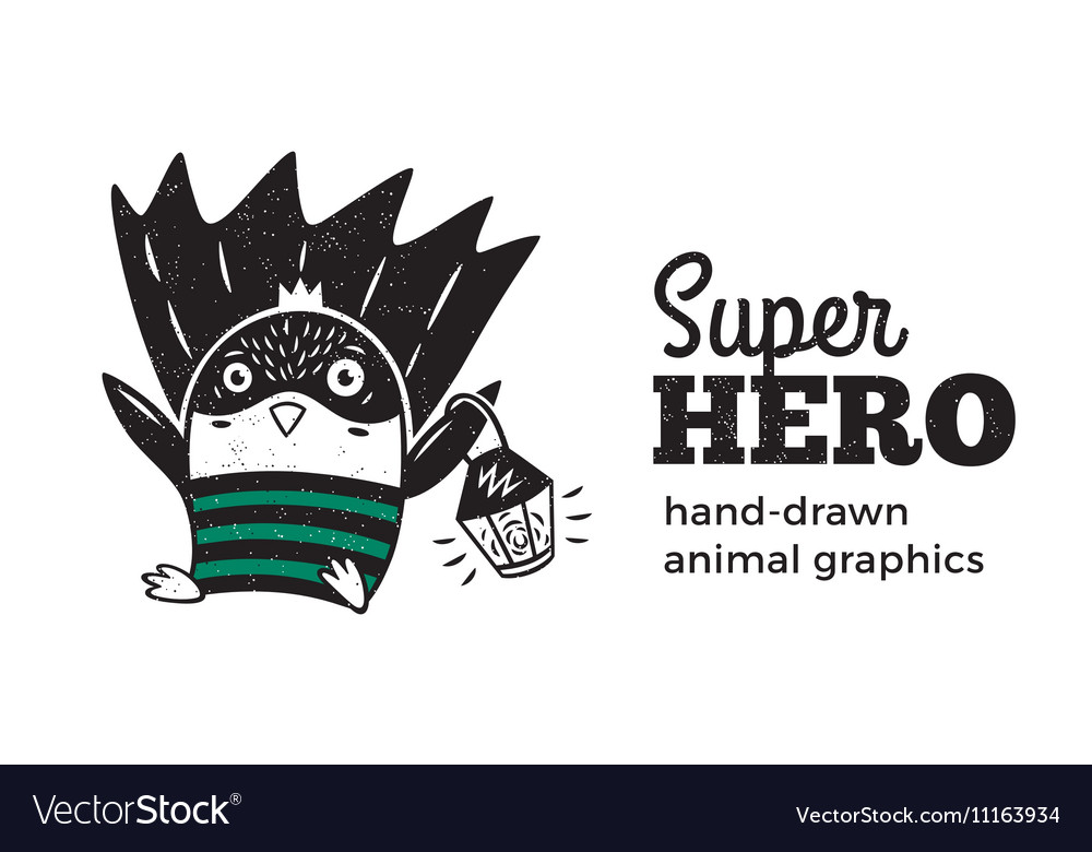Penguin in Superhero costume character isolated on vector image