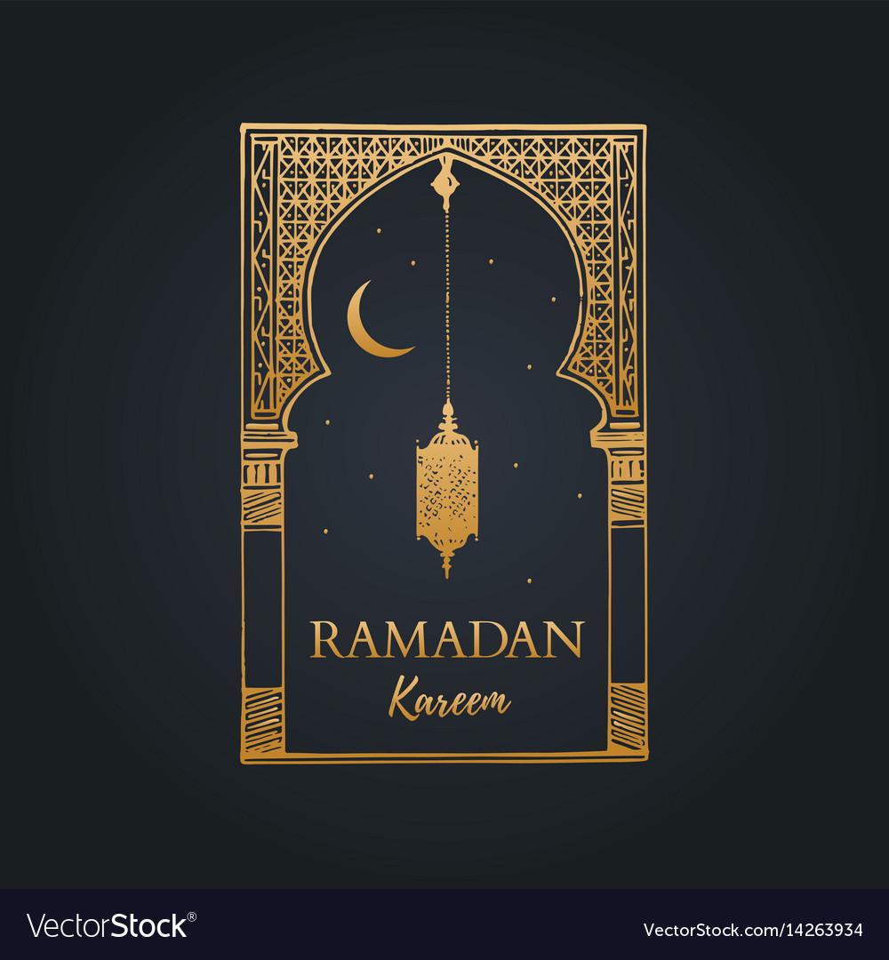 Ramadan kareem greeting card with calligraphy