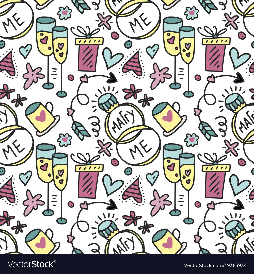Seamless pattern with rings gifts and vector image