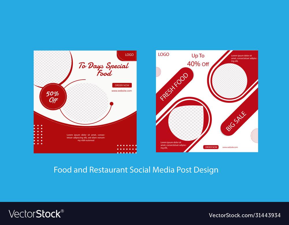 Social Media Post Template For Restaurant Vector Image