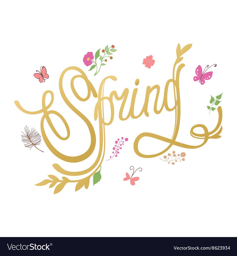 Spring flower background Spring hand-drawn