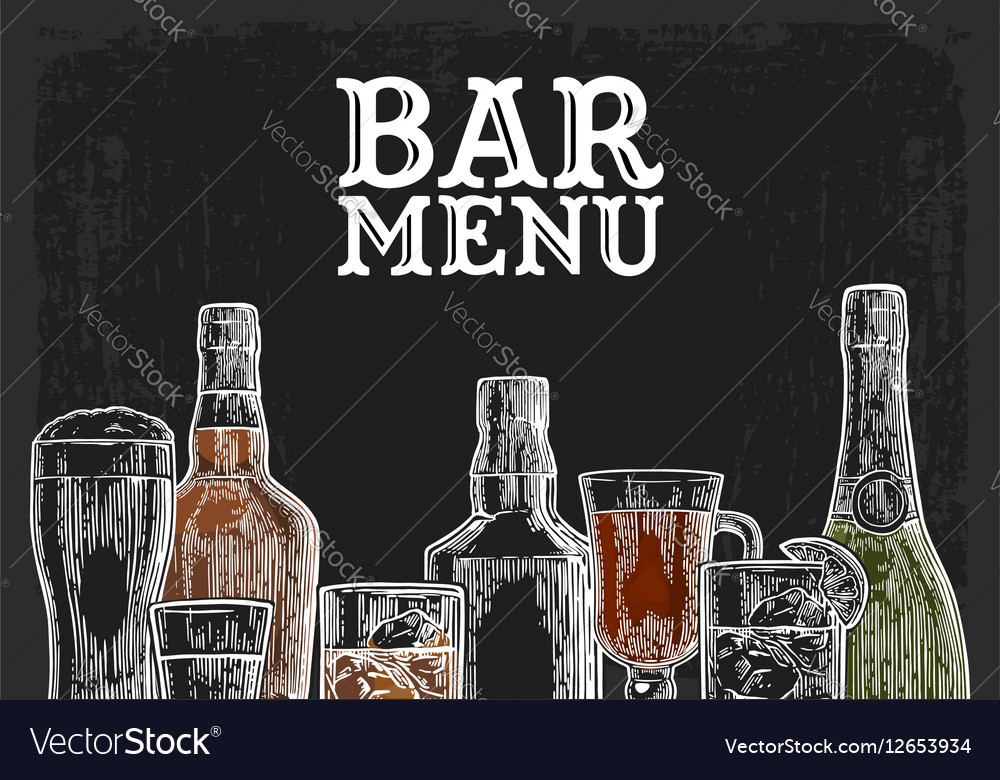 Template for Bar menu alcohol drink Royalty Free Vector