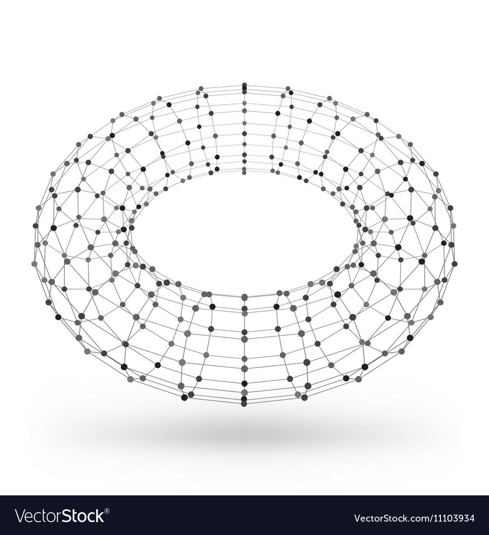 Wireframe polygonal geometric element Torus with