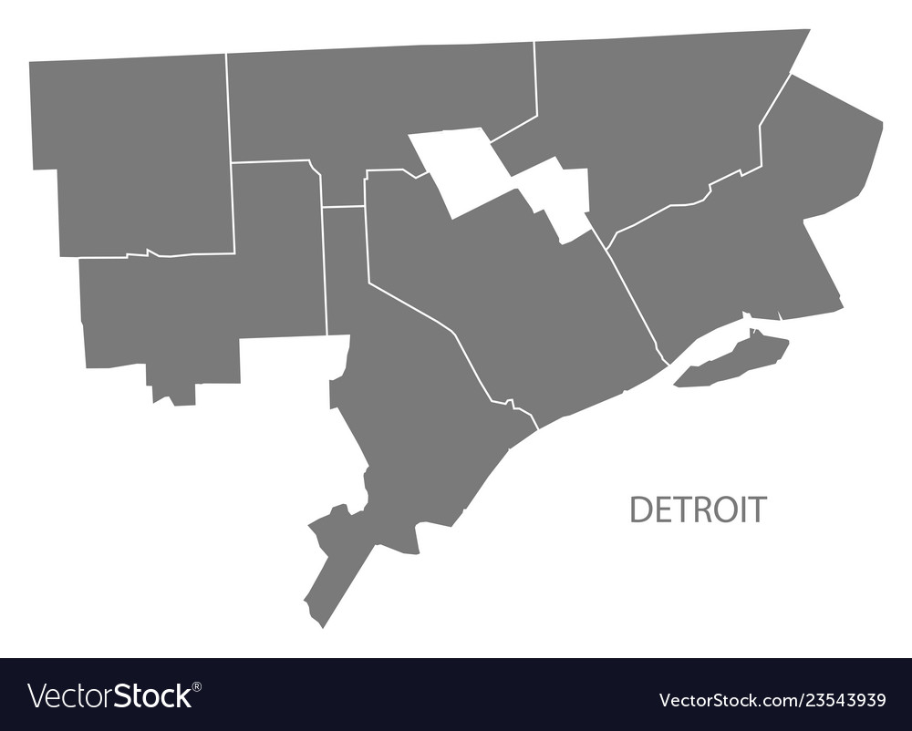 Detroit michigan city map with districts grey