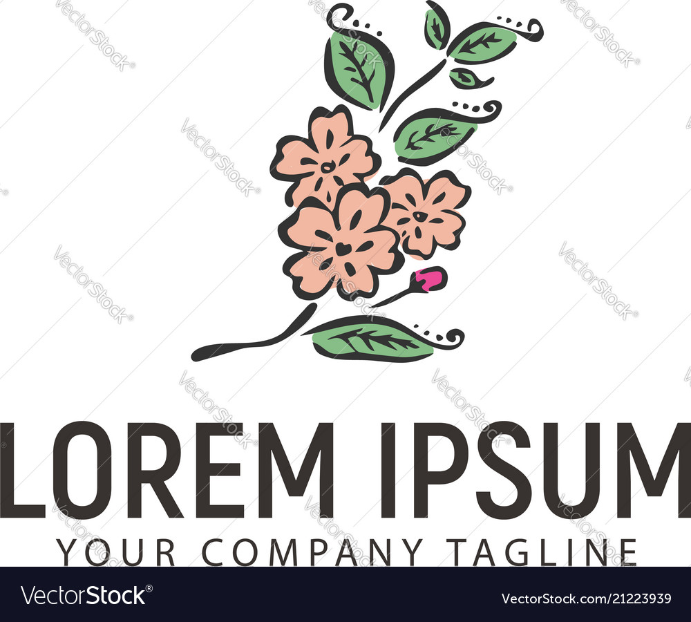 Flower logo hand drawn style design concept