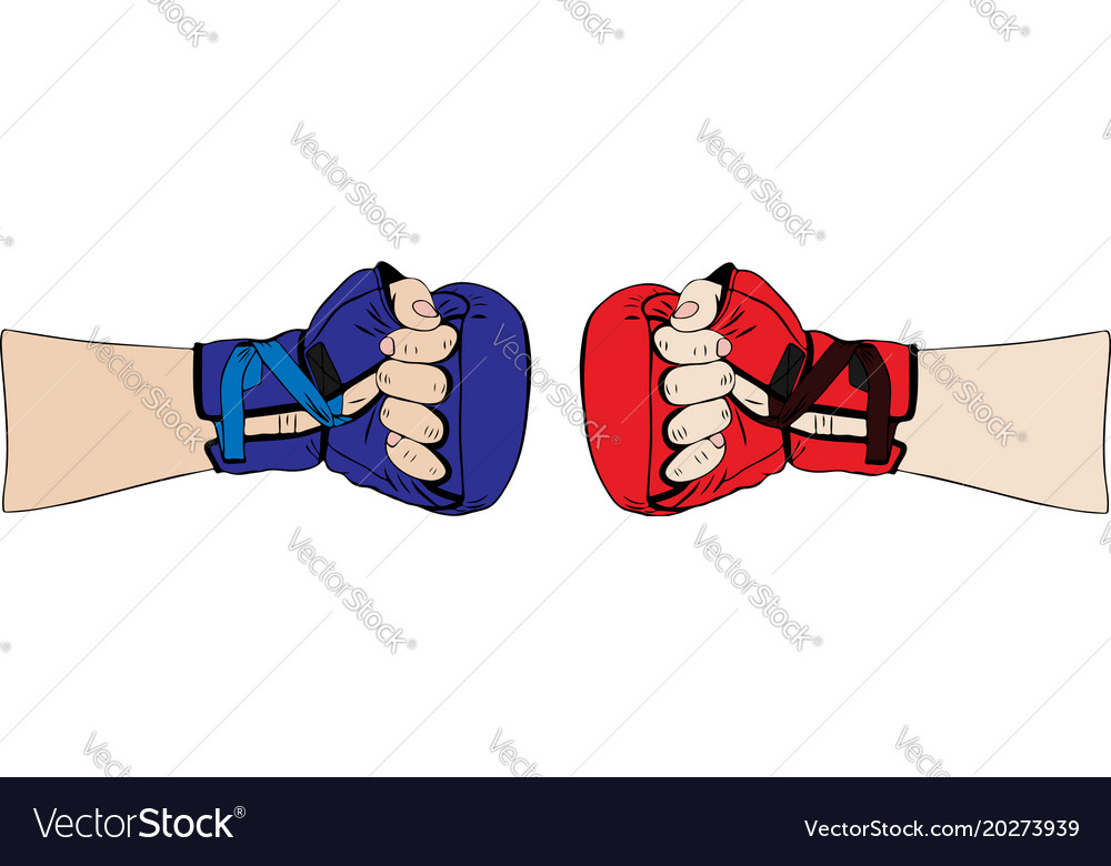 Hand in red boxing glove and in blue body parts