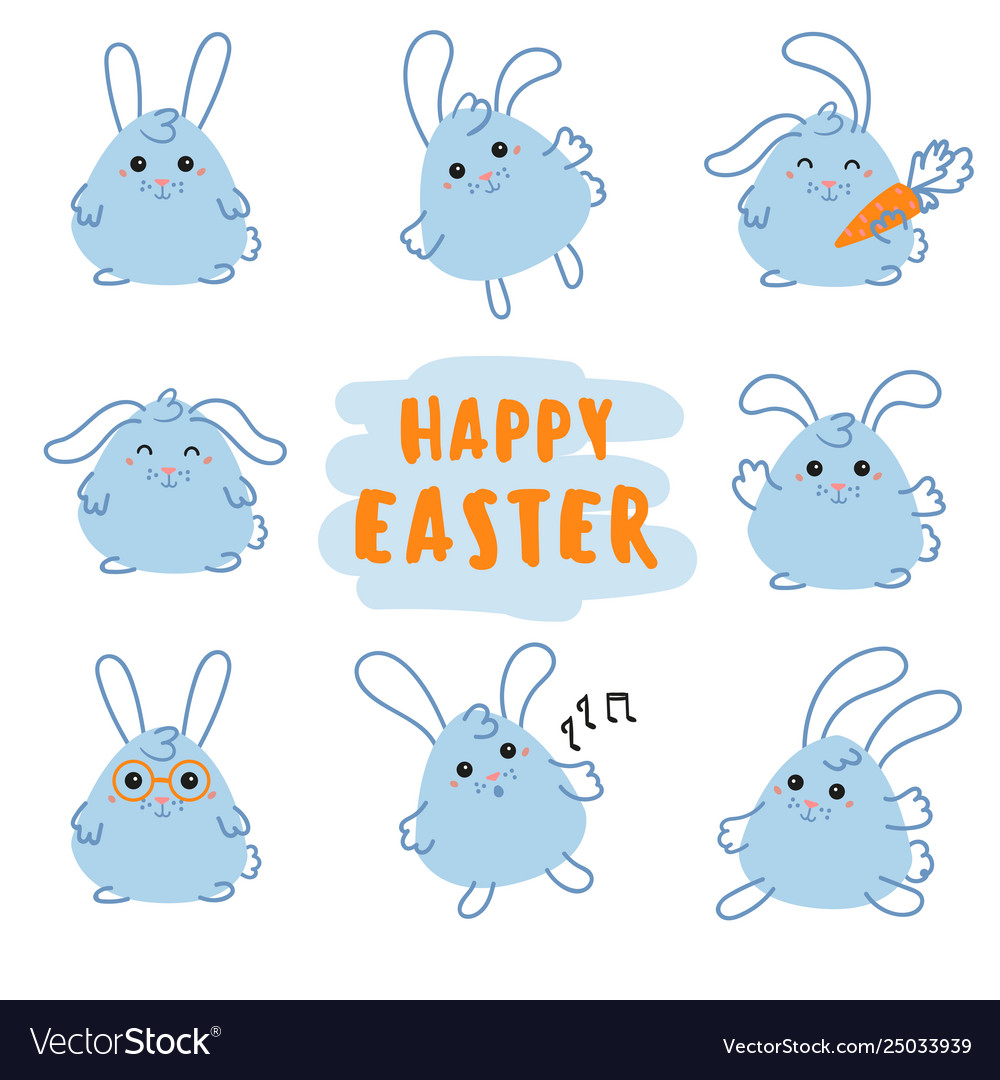 Happy easter day bunny rabbit with carrot
