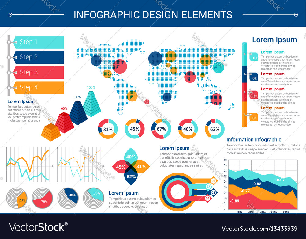 Infographic elements design with world map charts vector image gumiabroncs Images