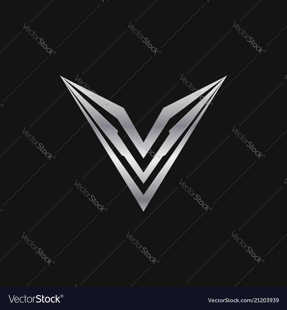 Letter v logo luxury metal logo design concept