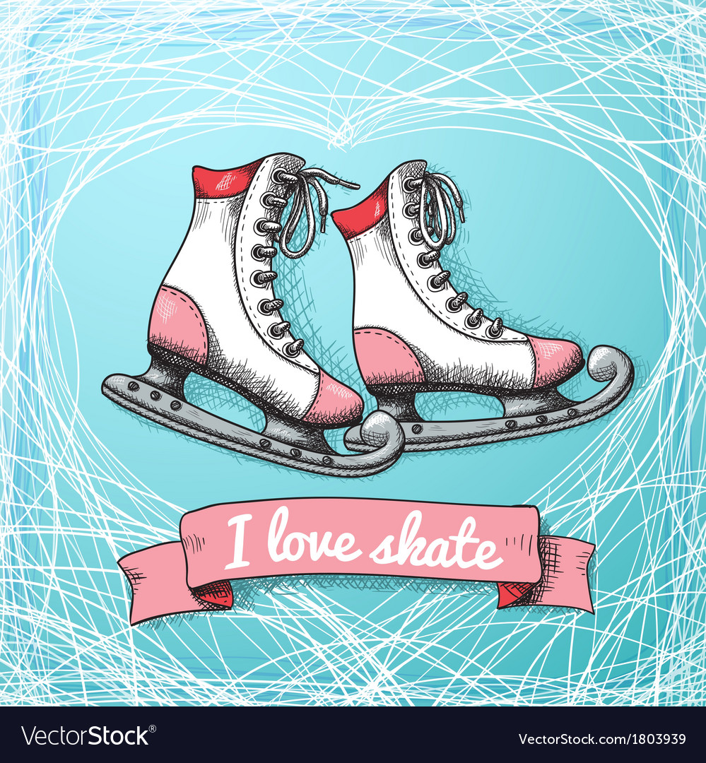 Love skate card theme vector image