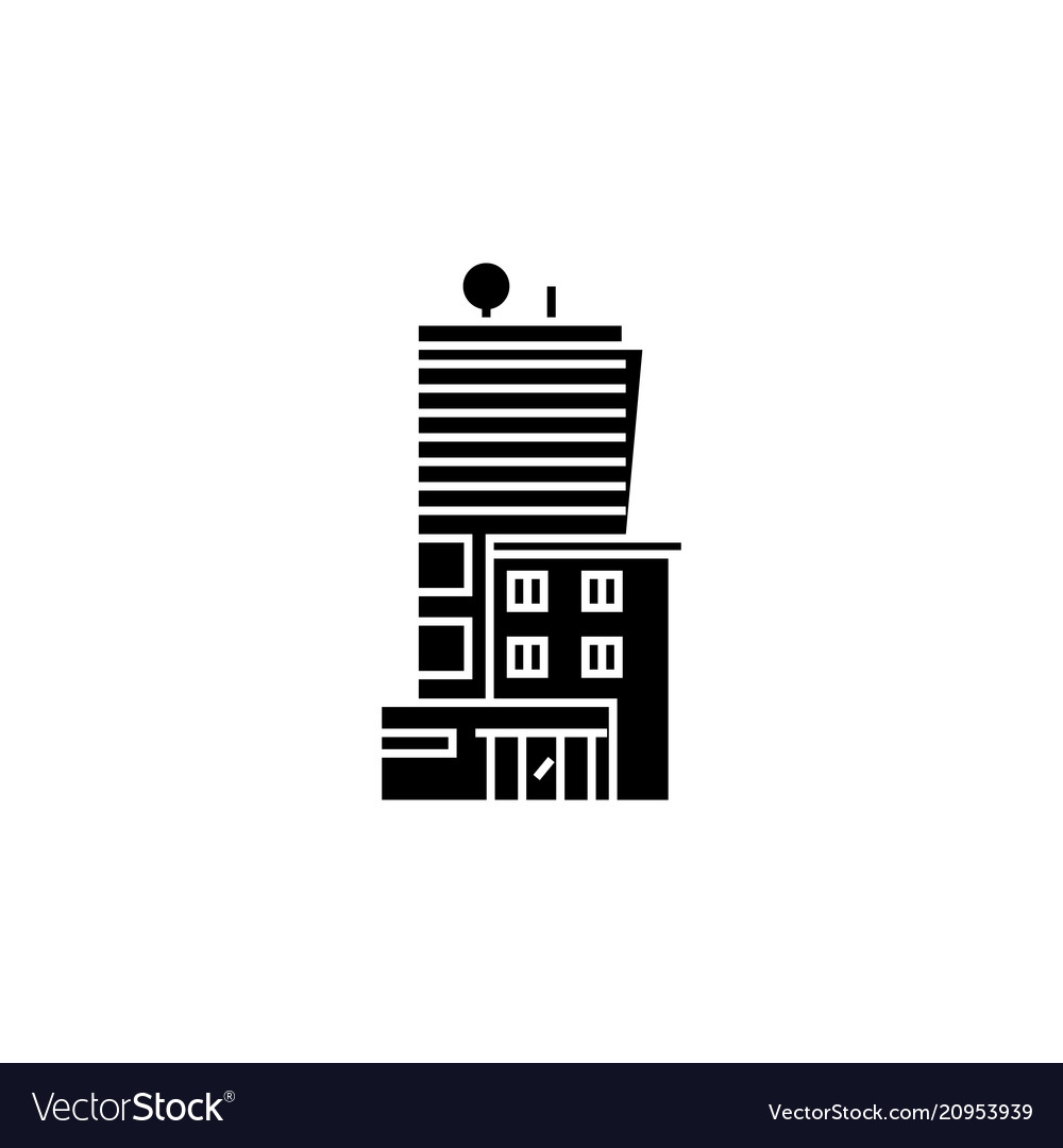 Office business building black icon concept