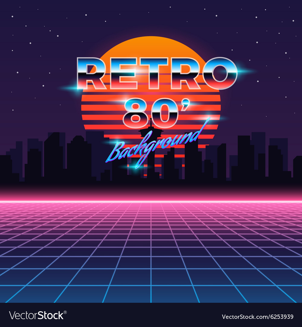 Retro neon abstract Sci-Fi background in