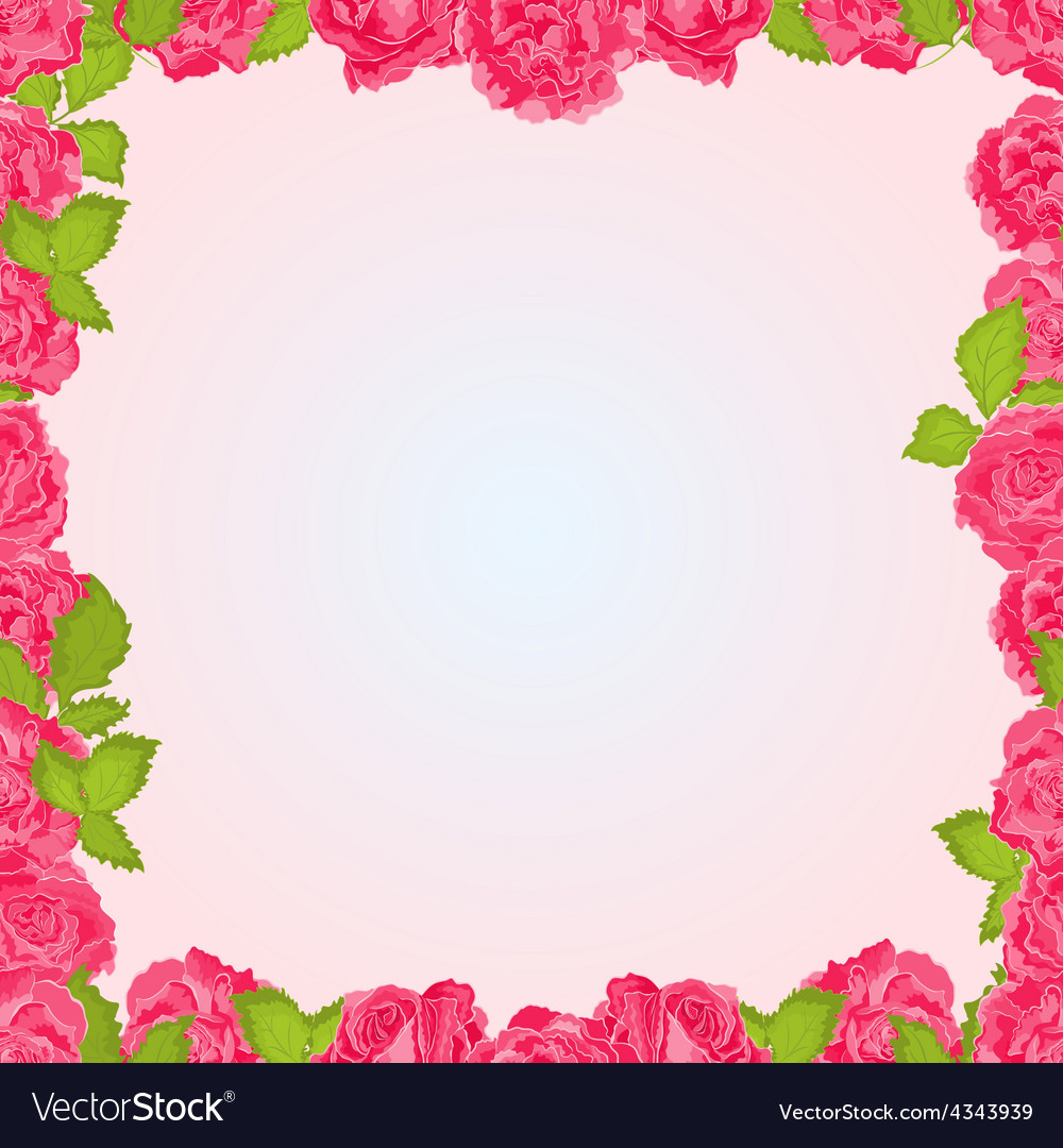 Seamless texture frame of pink roses flowers frame