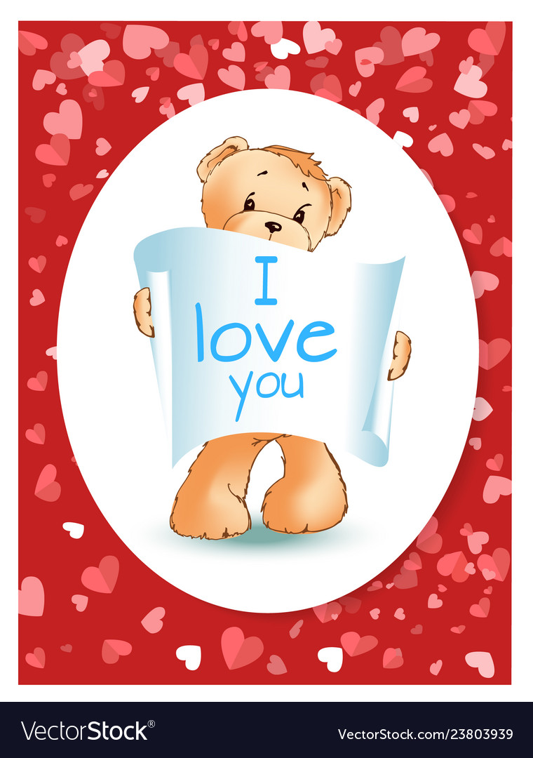 Teddy bear with recognition valentine card