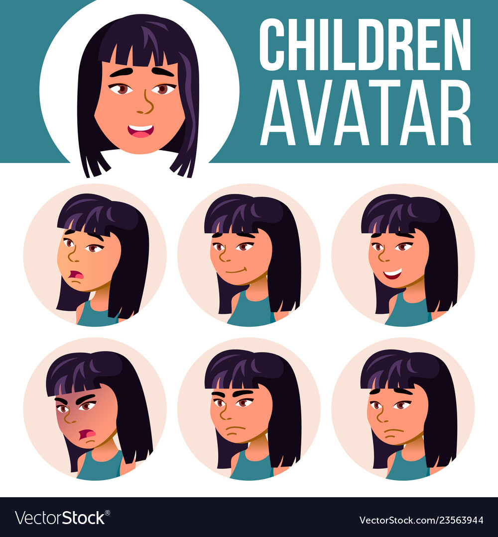 Asian girl avatar set high school face