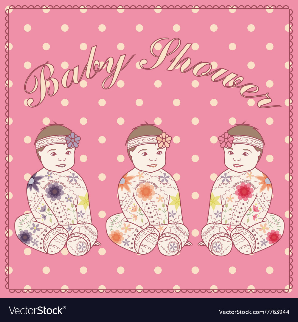 Baby Shower Girl Vintage Baby Girl Triplets Vector Image