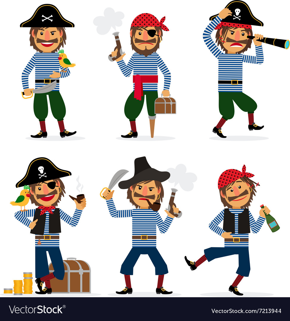 Cartoon pirate character vector image