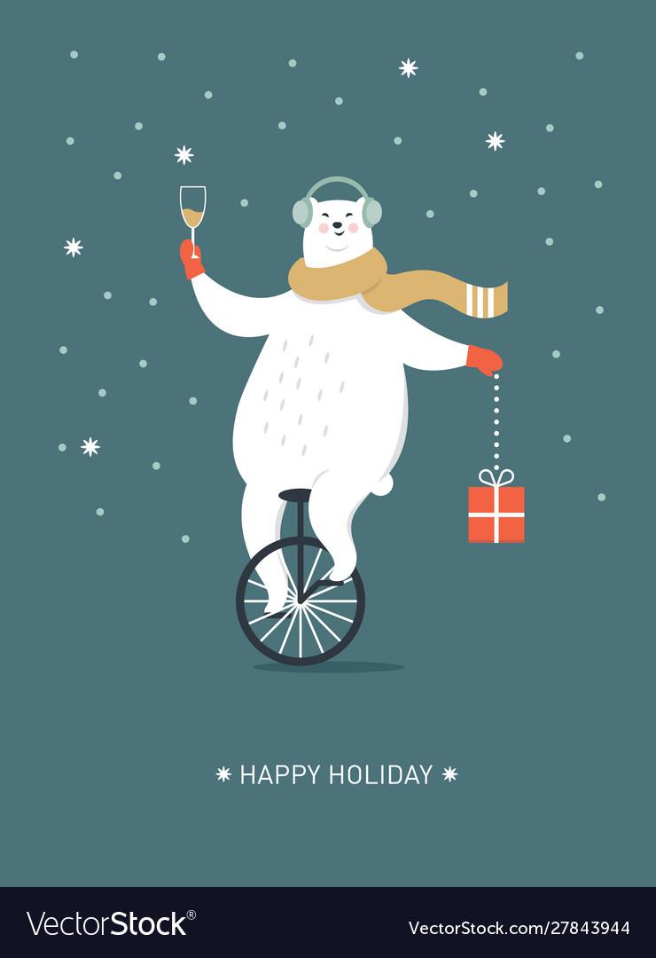 Christmas card seasons greetings polar bear is g