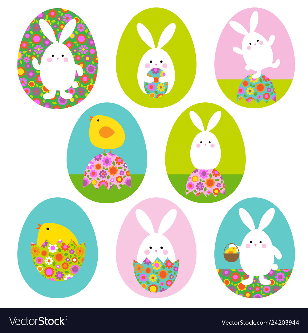 Easter bunny and bachick graphics on easter