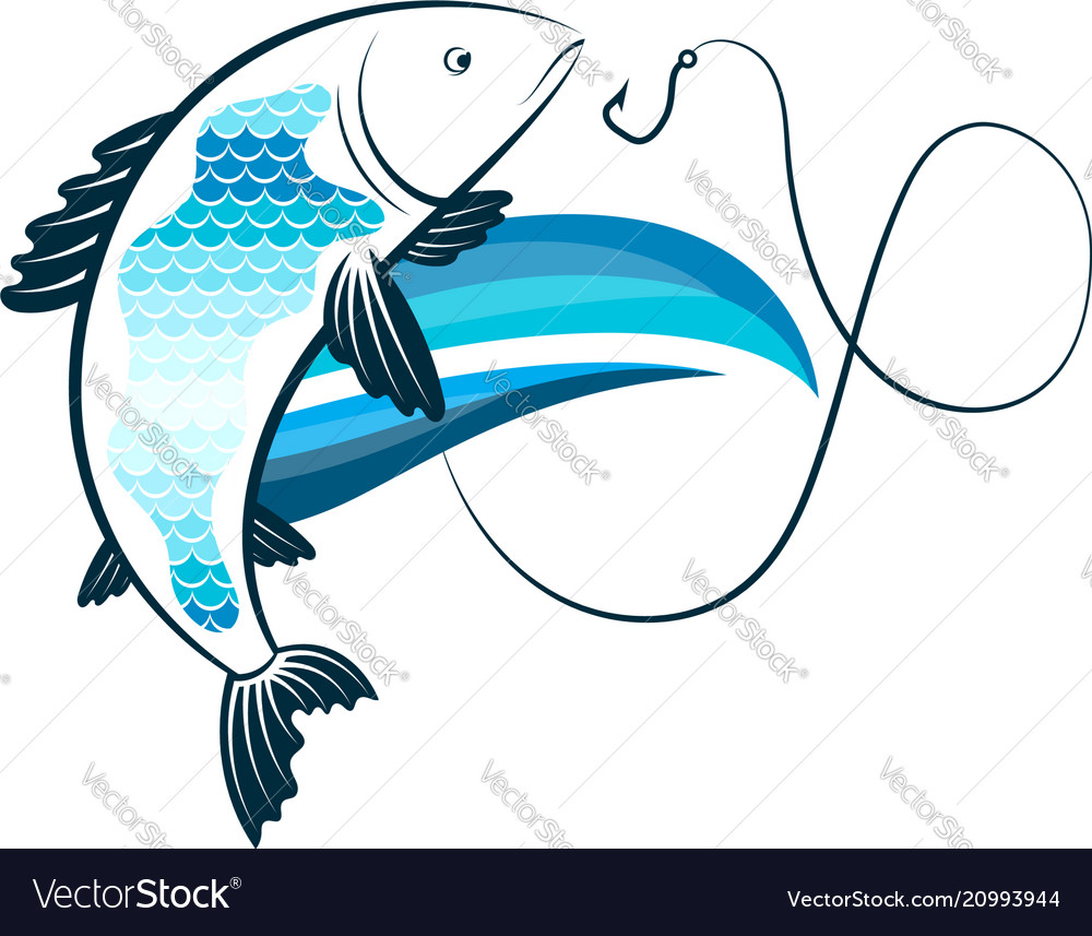Fish on the wave and a fishhook