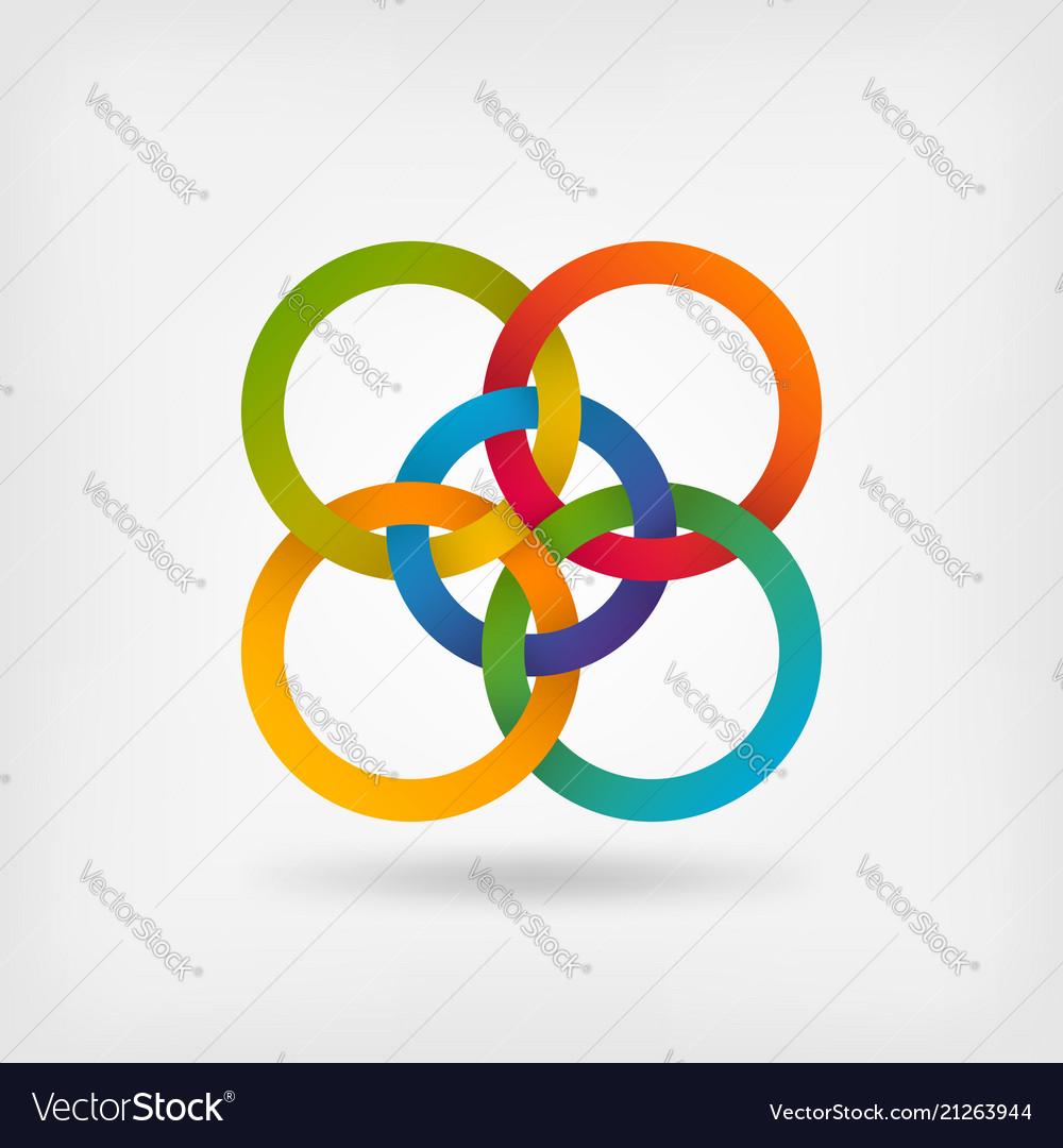 Five interlocked circles in gradient rainbow