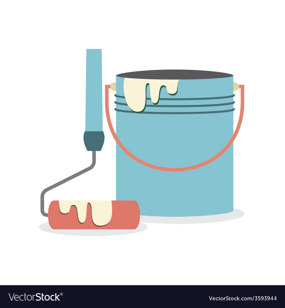 Flat Design Paint Bucket With Roller Royalty Free Vector
