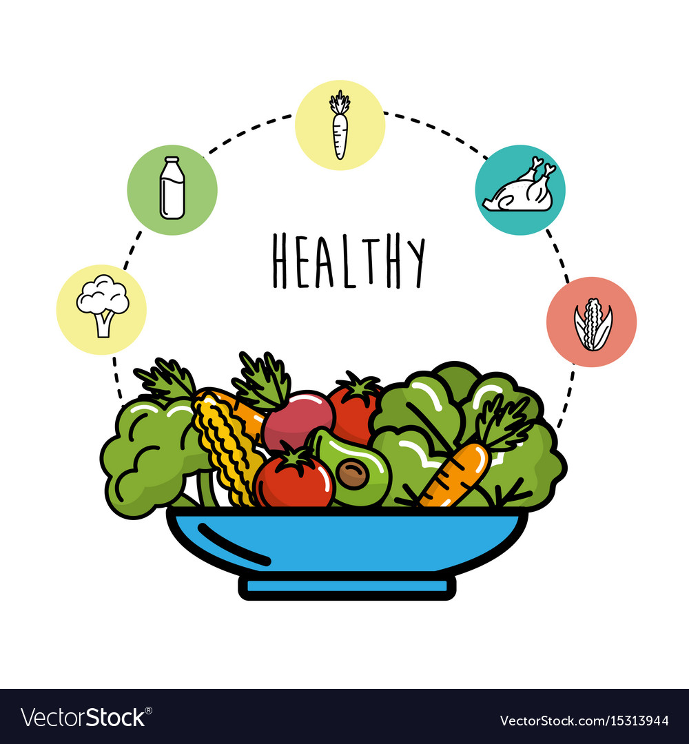 Fruits and vegetables with protein food vector image