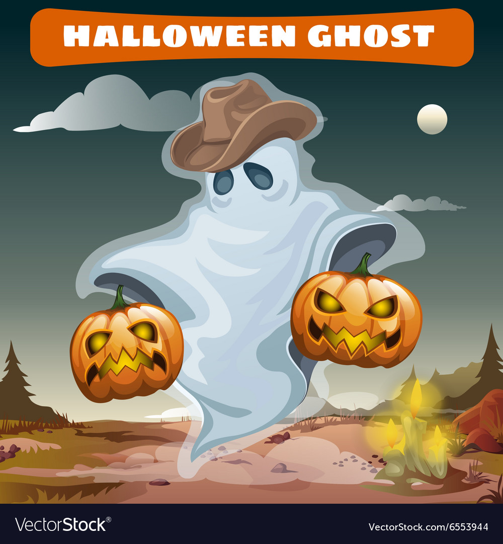 Ghost in cowboy hat with two evil pumpkins vector image