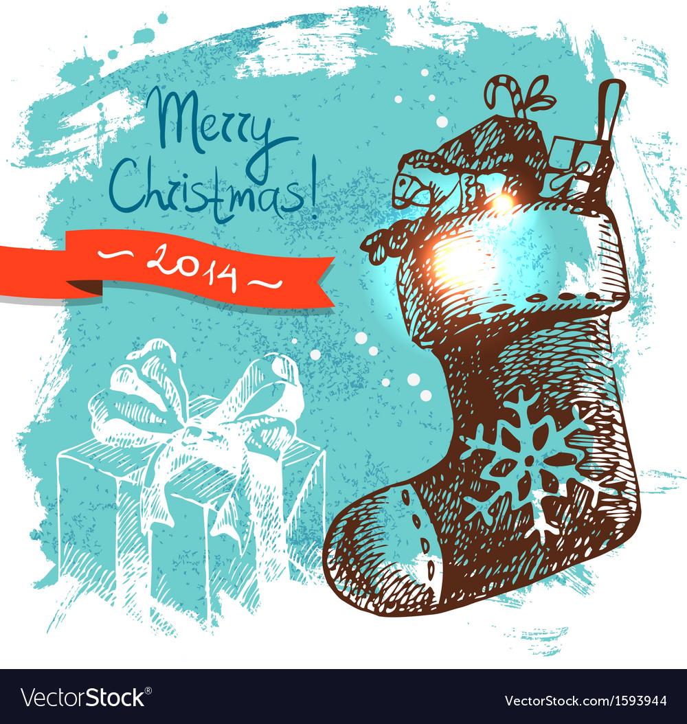 Hand drawn Vintage Christmas background
