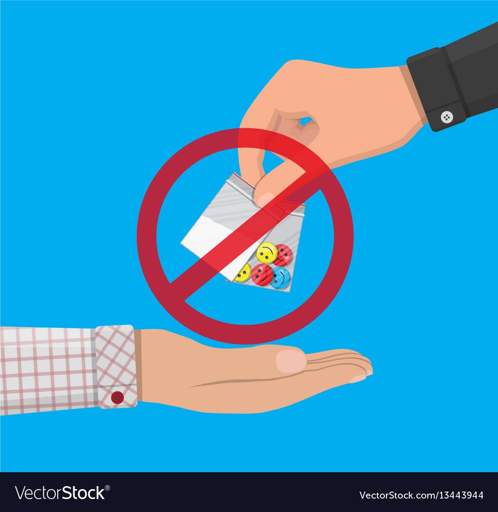 Hand of drug dealer gives bag with narcotics vector image
