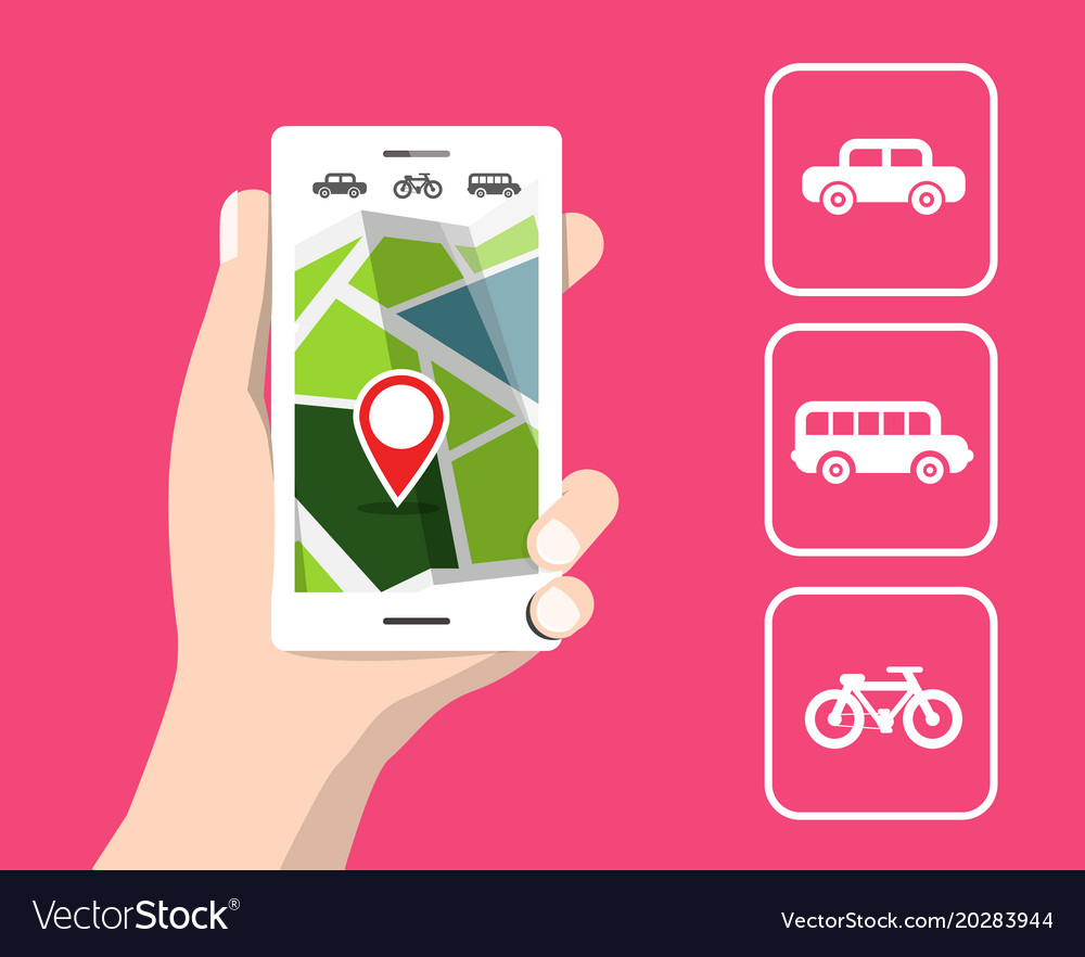 Map on cellphone travel by car bicycle and bus vector image