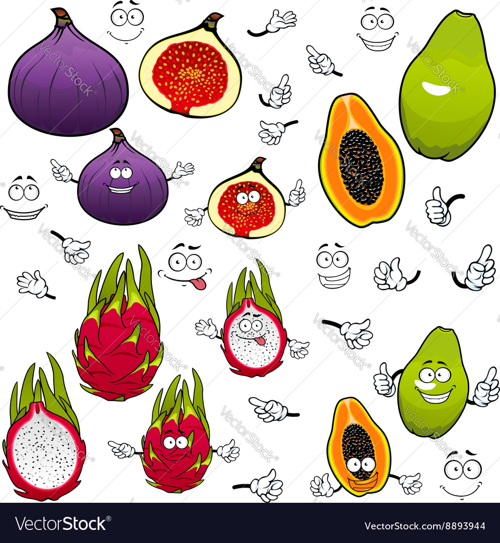 Papaya dragonfruit fig fruits cartoon characters