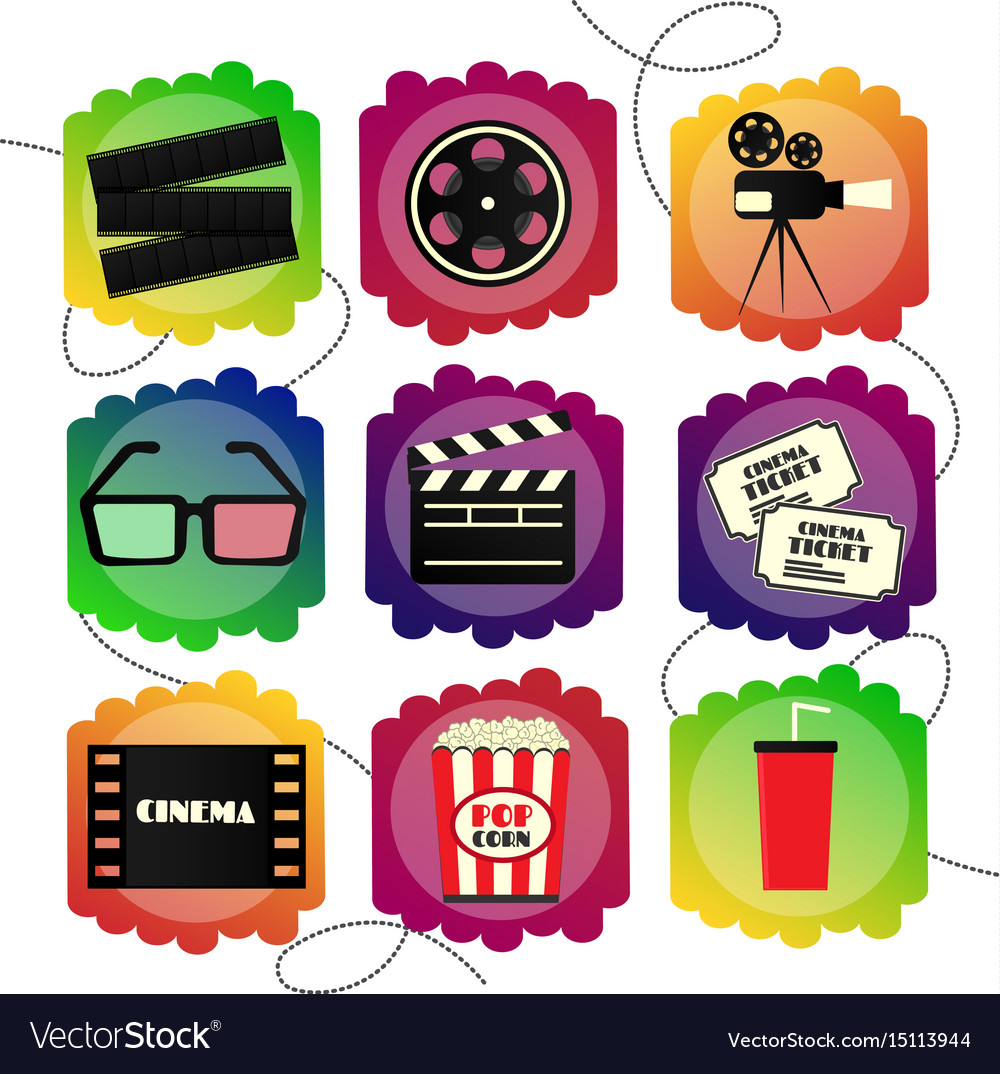 Set of icons of a cinema bright multicolor set