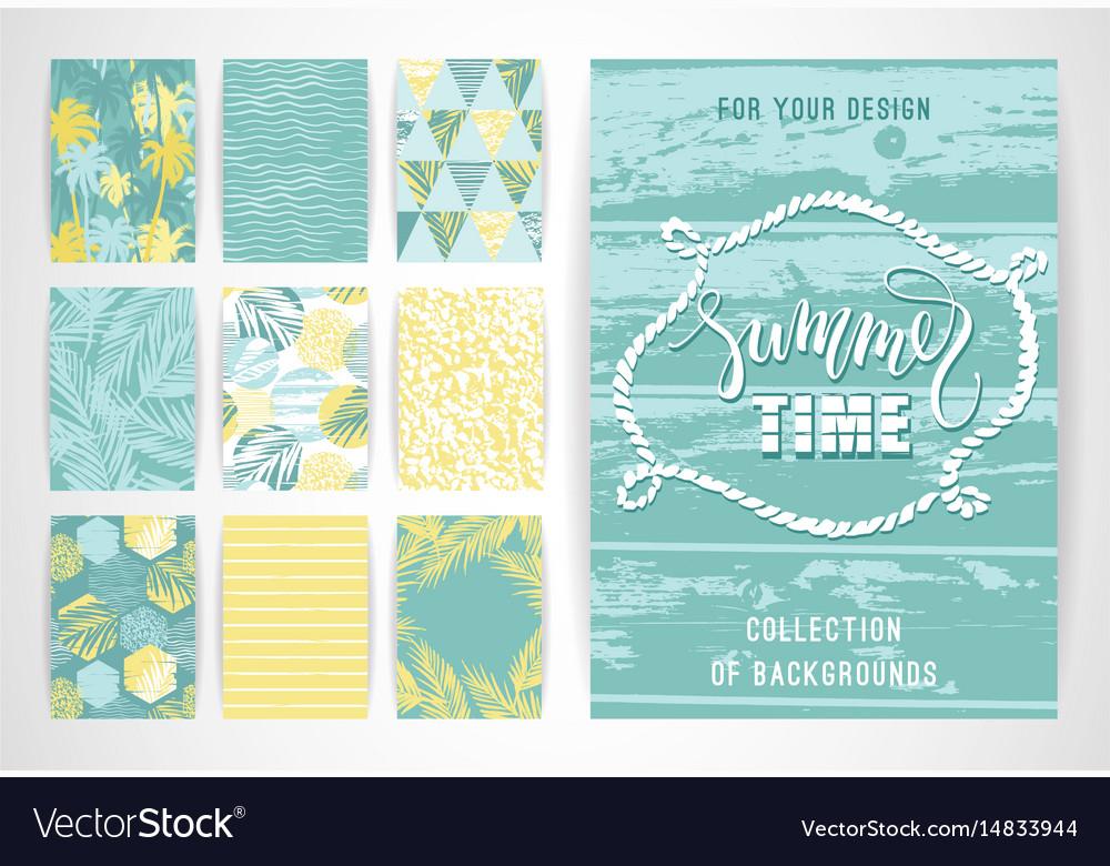 Set of summer background templates design