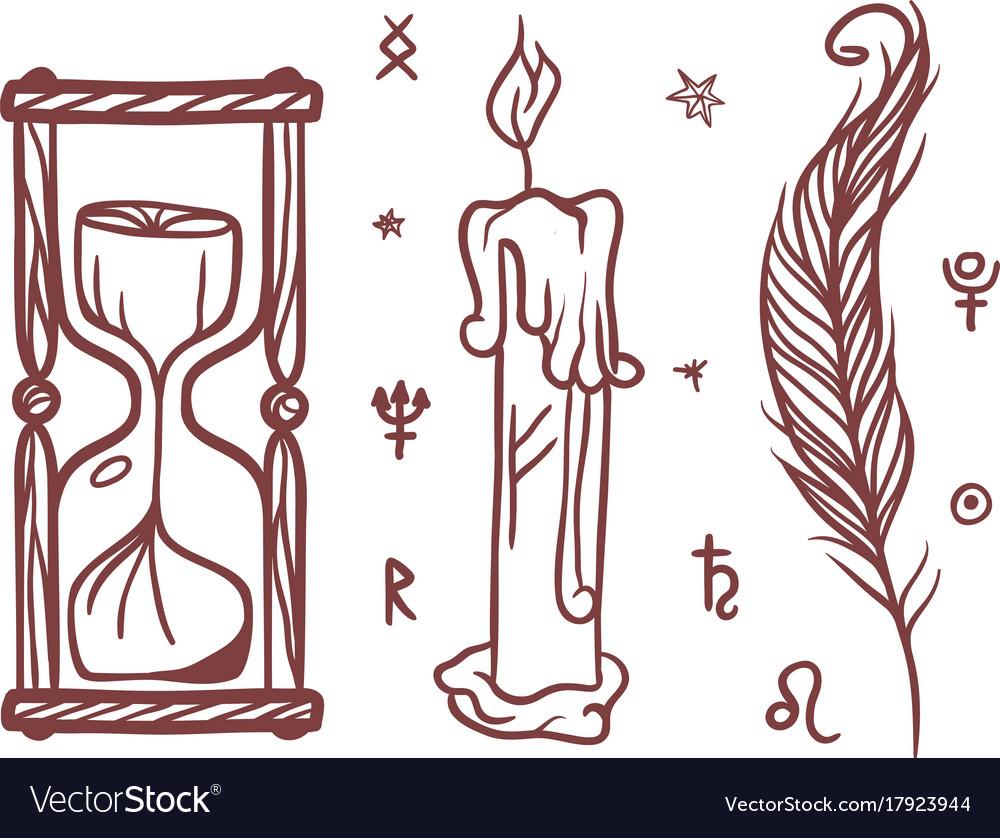 Trendy esoteric symbols sketch hand drawn