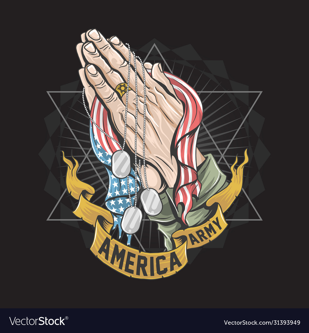 America soldier army hand pray for god with usa