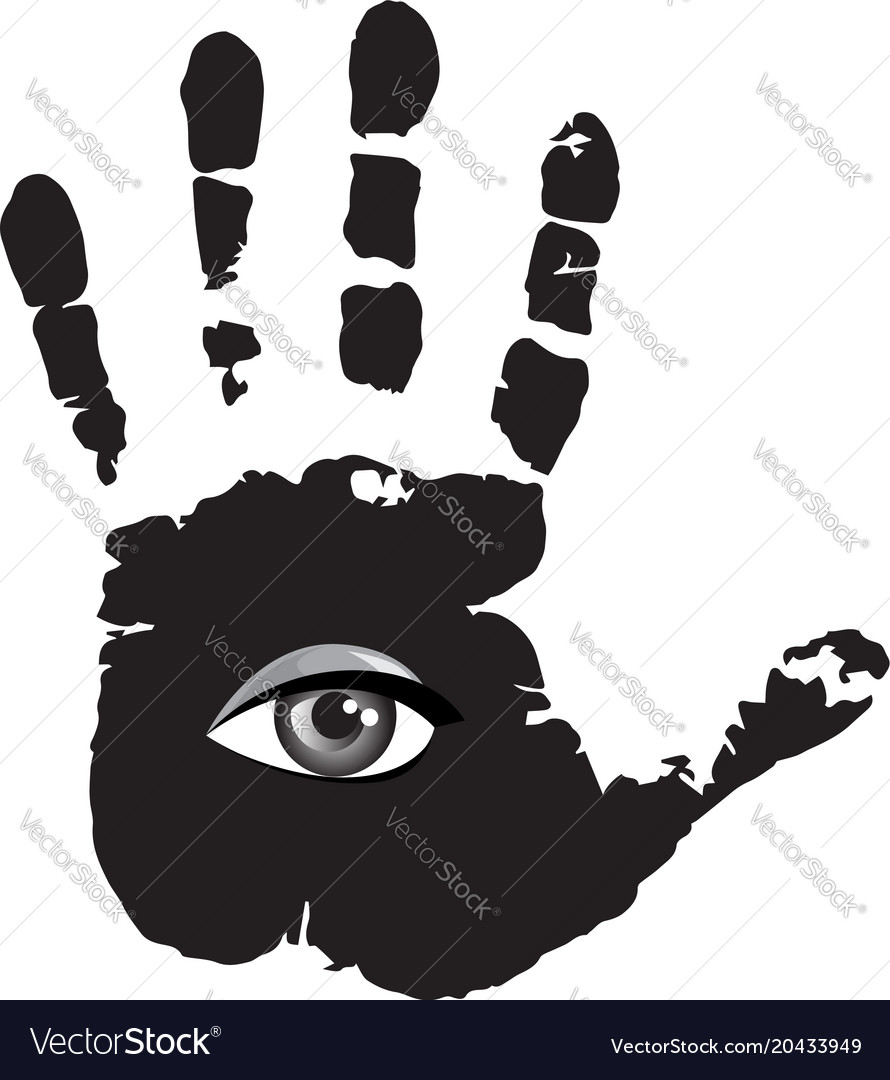 Black and white of all seeing eye inside of human vector image