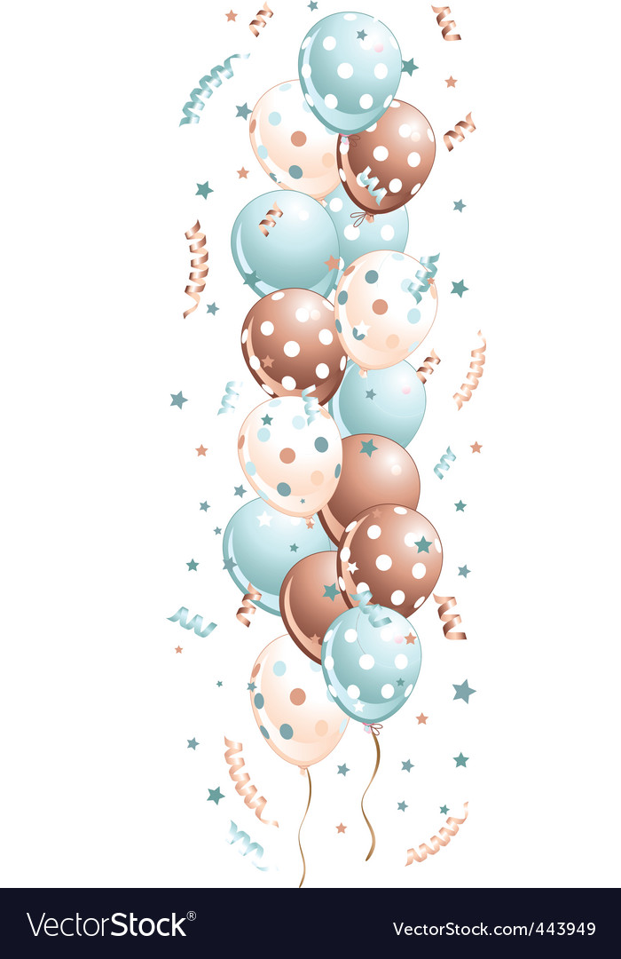 Blue holiday balloons in line vector image