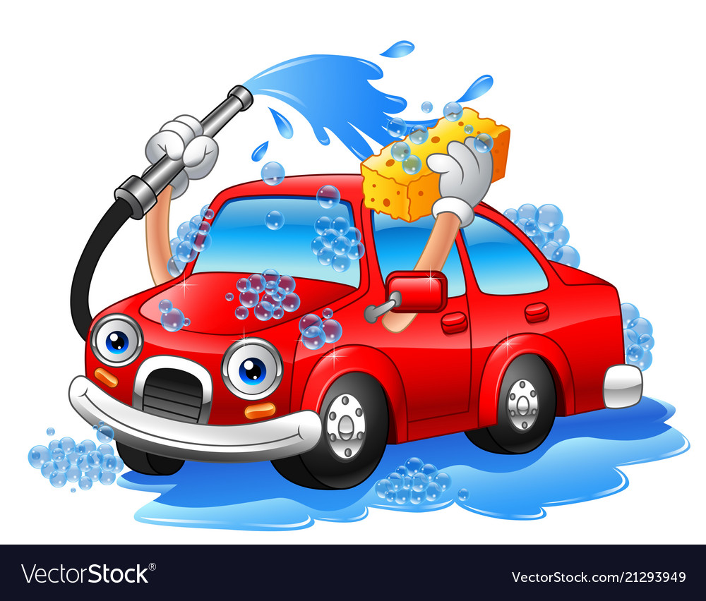 Cartoon Funny Car Washing With Water Pipe And Spon