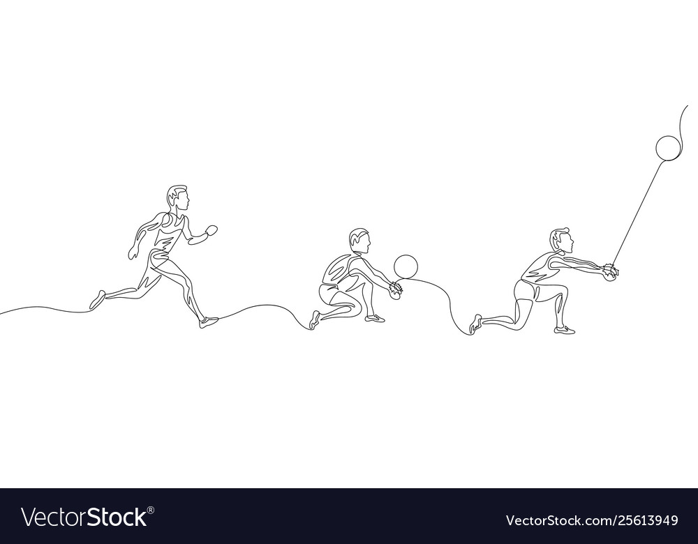 Continuous one line volleyball playerstep step