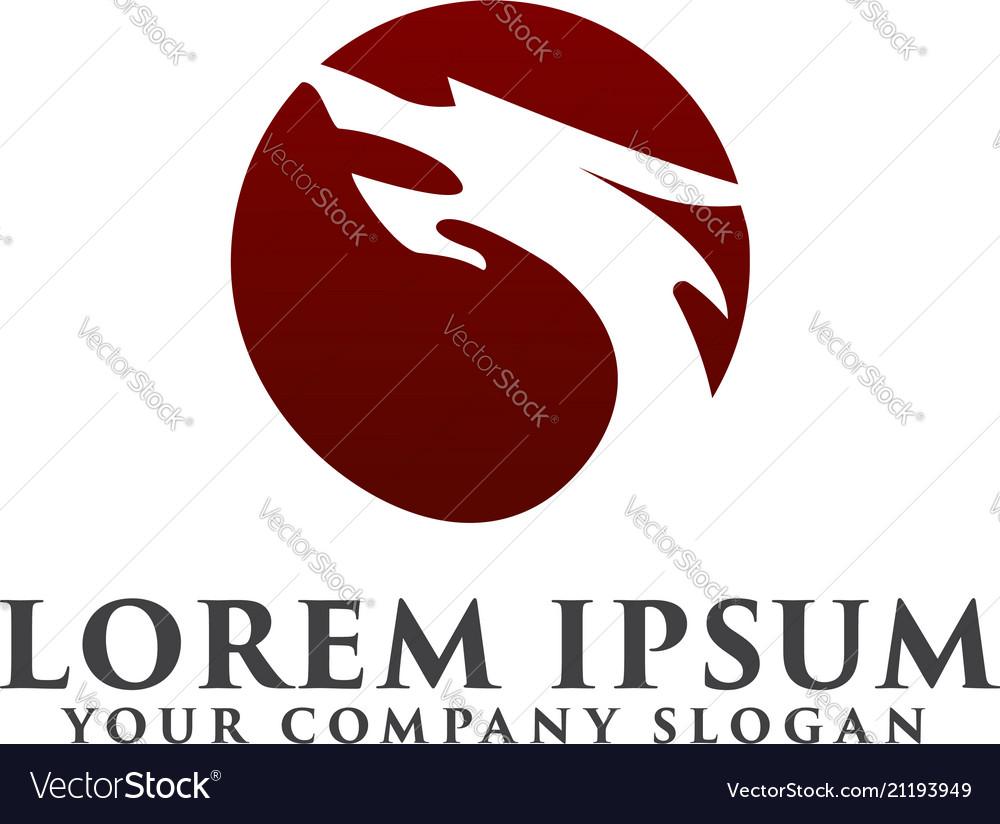 Dragon logo circle shape design concept template