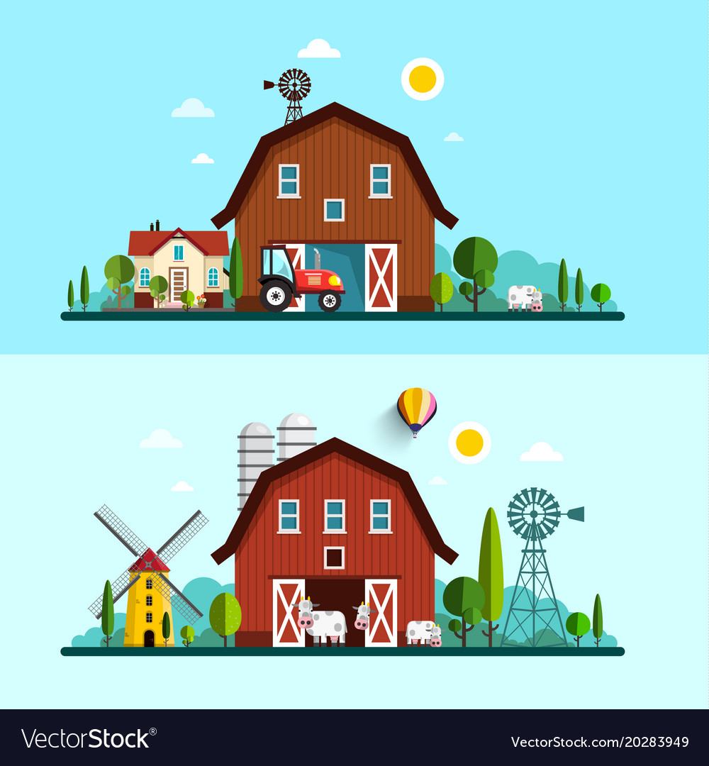 Farm with barn windmill and cows flat design vector image