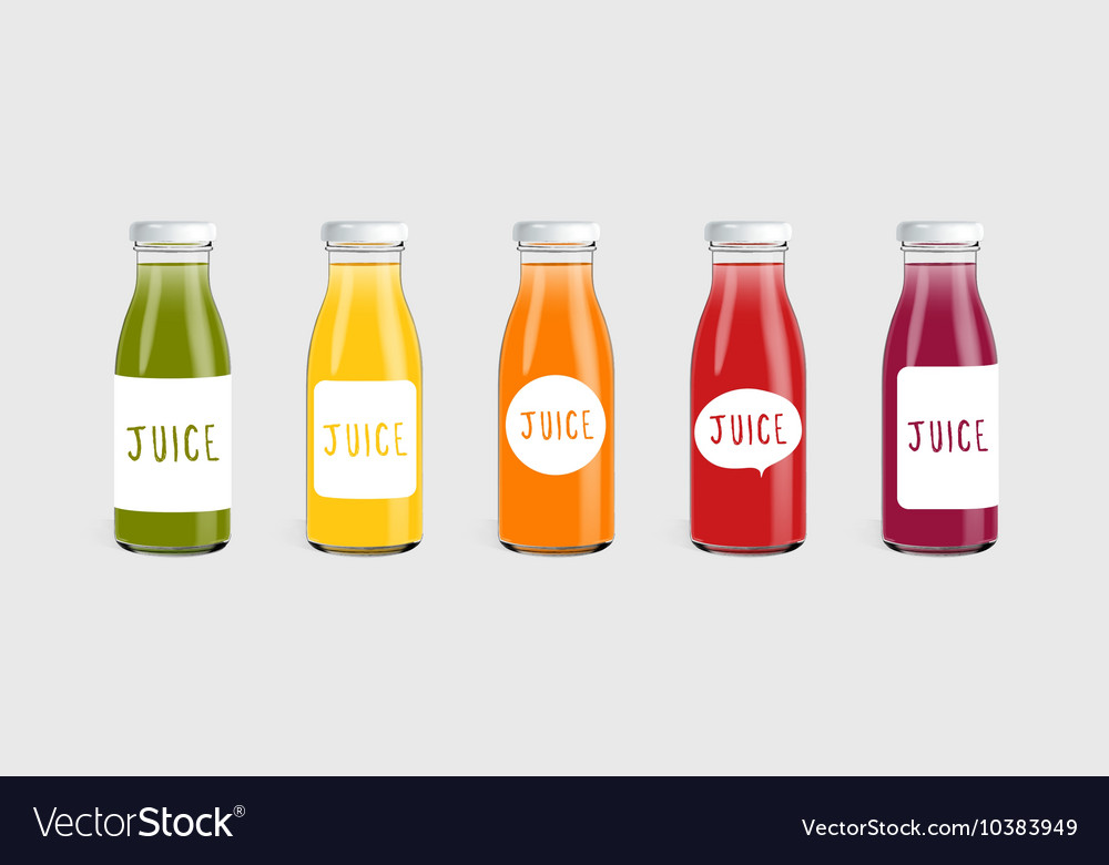 Glass juice bottle with label template