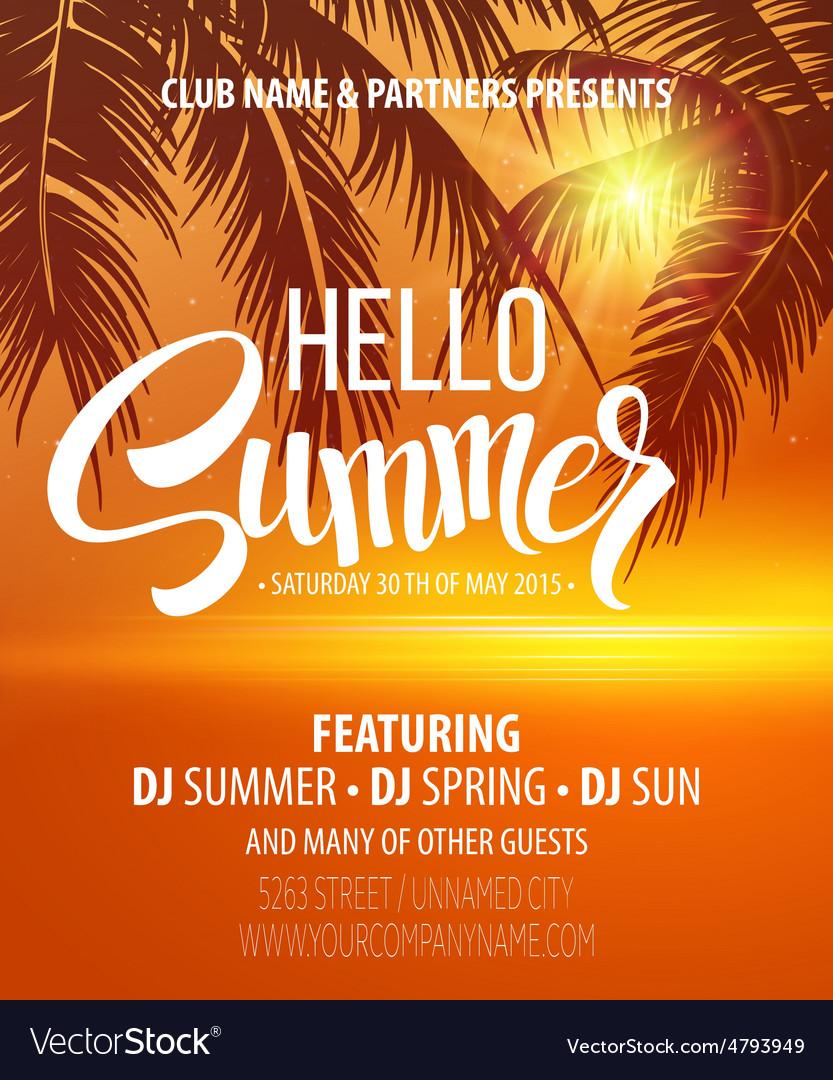 Hello Summer Beach Party Flyer Design