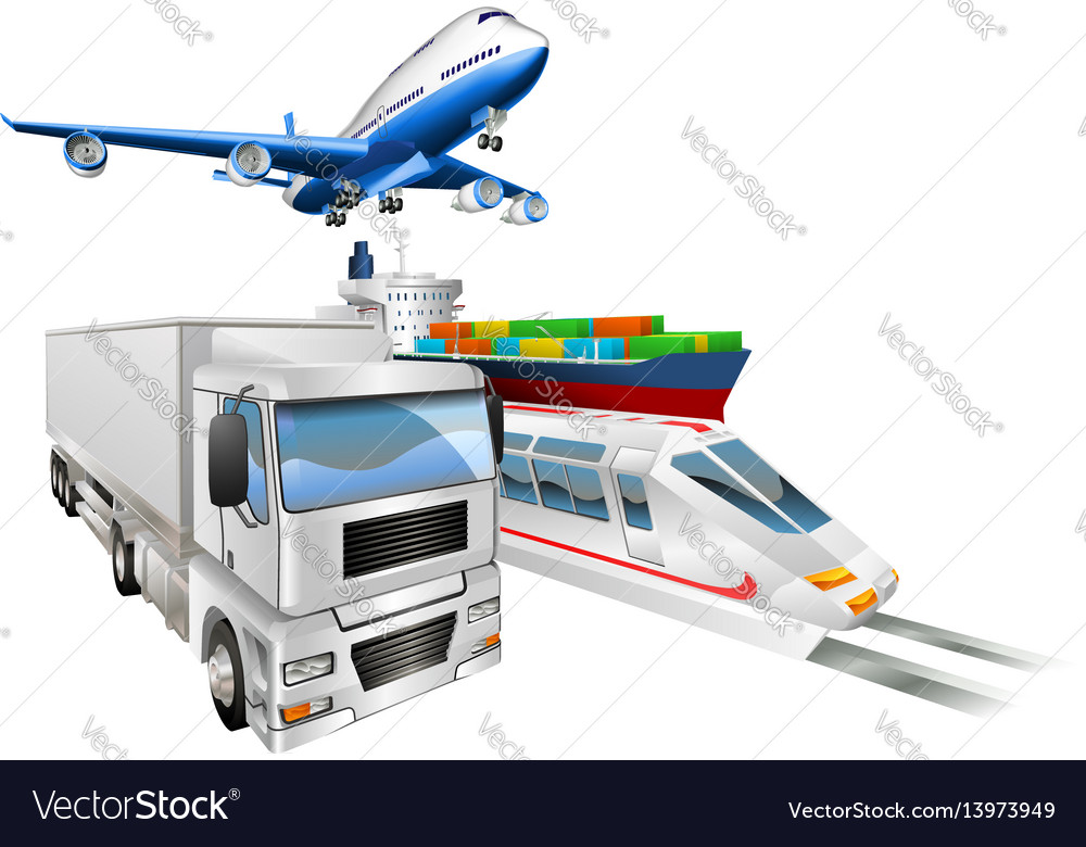 Logistics concept airplane truck train cargo ship