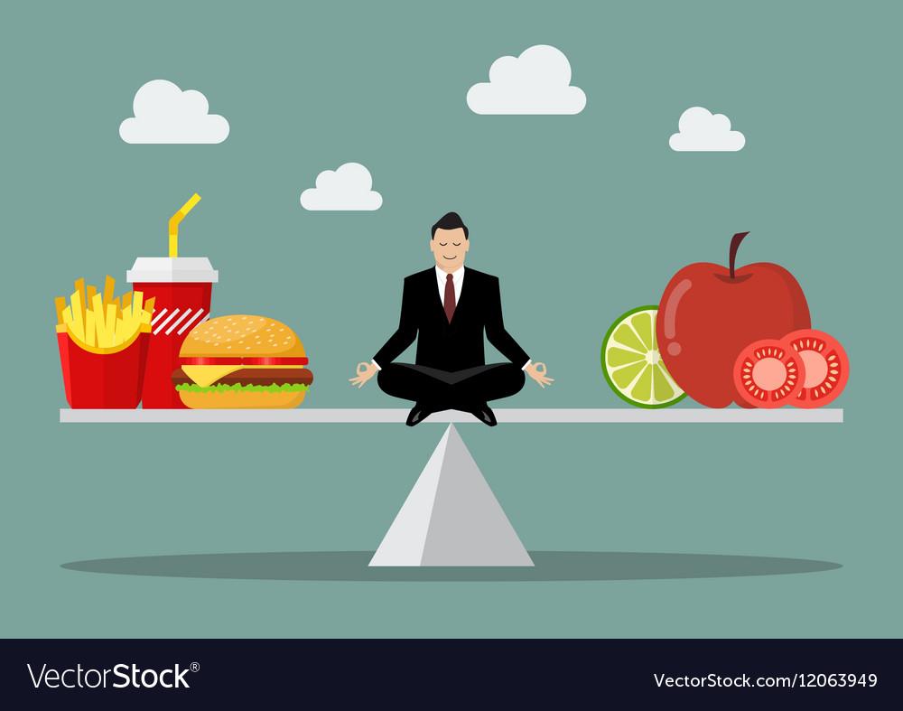 Man balancing between junk food and healthy food