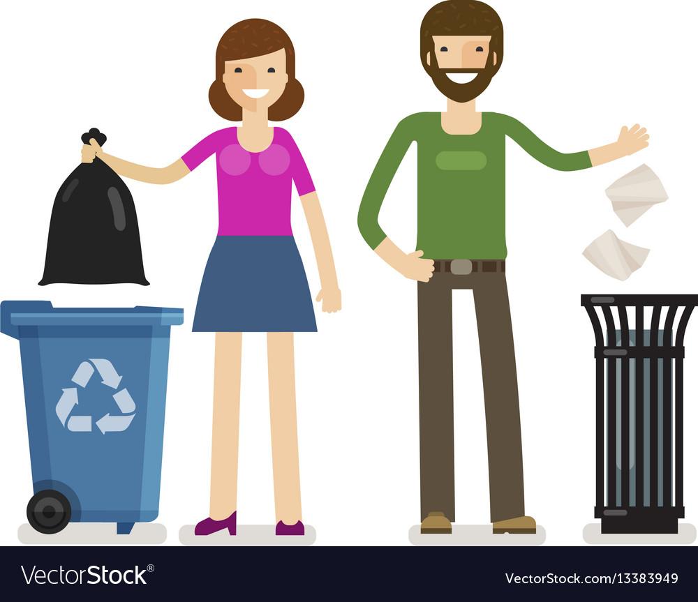 Man woman throws garbage in trash can ecology