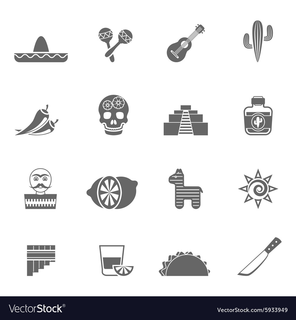 Mexican Culture Symbols Black Icons Set Royalty Free Vector