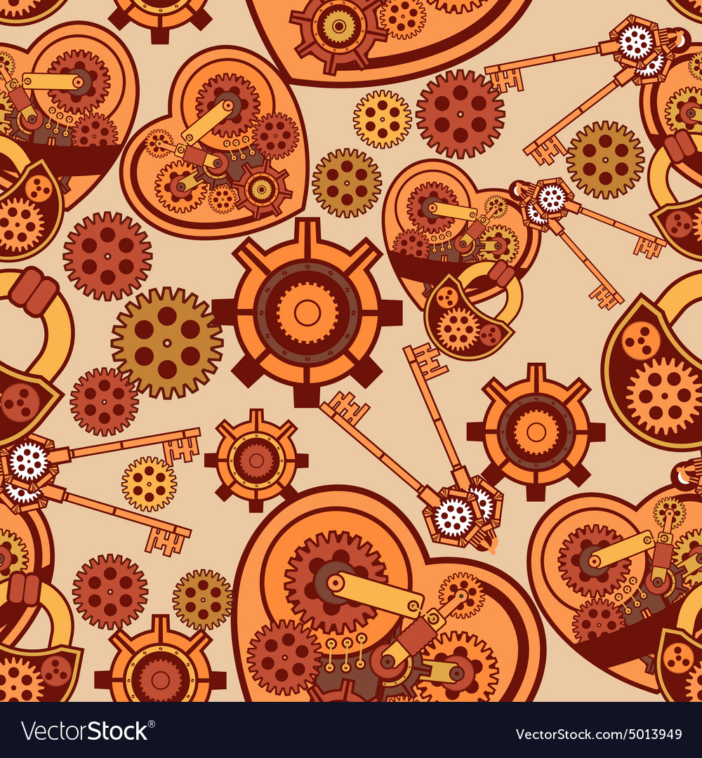 Seamless pattern Steampunk mechanism