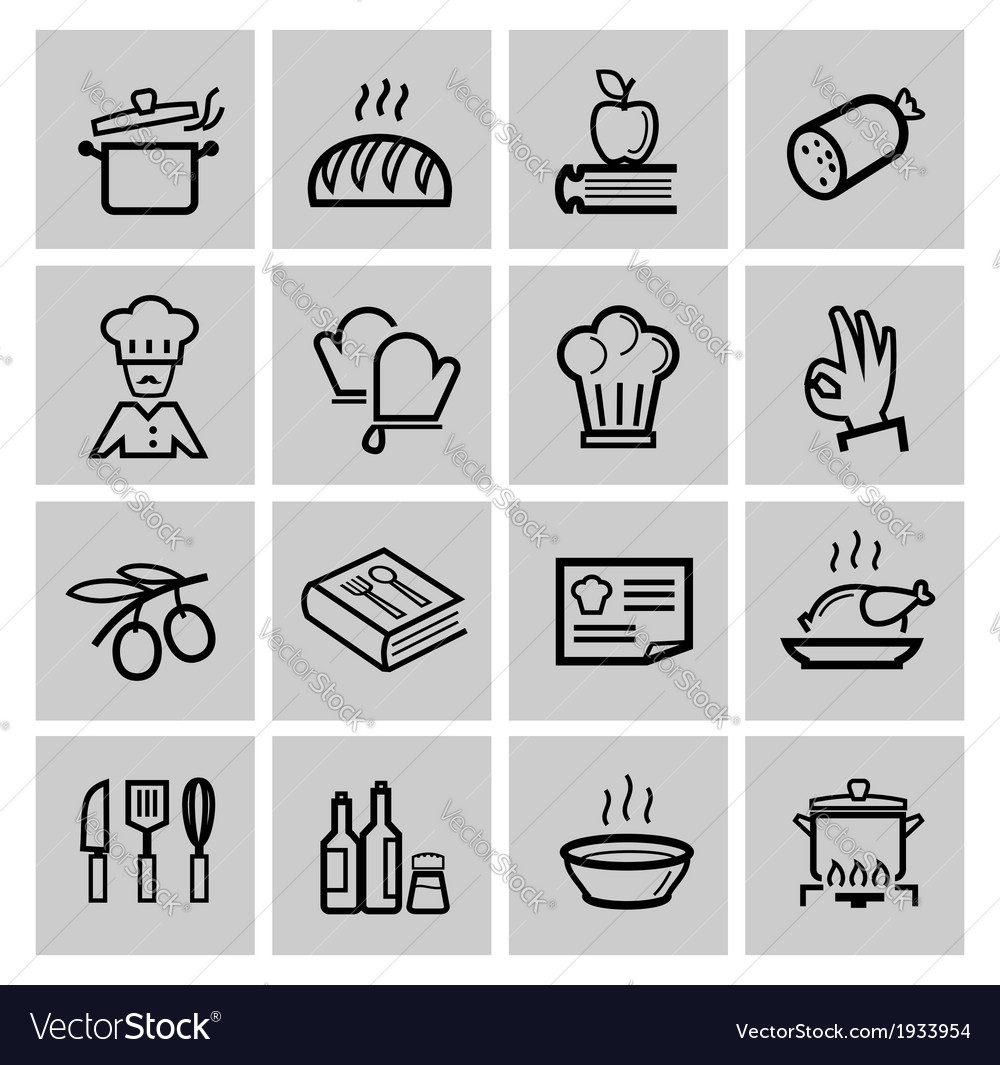 Black kitchen icons set